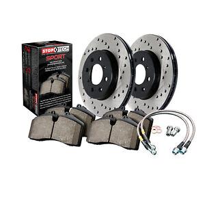 StopTech 979.33060R Sport Rotors/Pads/Hose Line Kit Cross-Drilled Black Rear