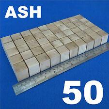 """LOTTO X 50 CUBI 1.0 """" / 25 mm in legno blocchi Bundle Set Legno Frassino Naturale Eco mattoni"""