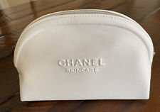 New authentic CHANEL white faux leather cosmetics bag beauty skincare 2020