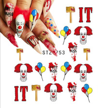 Nail Art Stickers Water Decals Transfers  Halloween IT Clown Pennywise (STZ753)