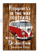 Personalised Happiness Camper Van,is the way you travel Gift, Birthday, Plaque