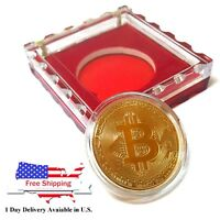 Bitcoin Gold Plated Physical Coin Commemorative Collection with Crystal Case