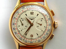 LONGINES 30CH 18k SOLID GOLD 38MM FLYBACK CHRONOGRAPH GUARANTEE & BOX SPLENDID