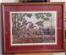 "Jake Taylor Signed & Numbered Print ""Old Home Place Covey"" Quail 1984 Framed"