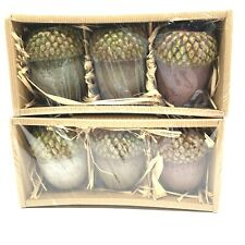 Pottery Barn Acorn Candles 2 Sets Of 3 Acorns Packed In Boxes