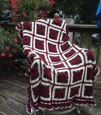 Christmas Rose Afghan - Crocheted Throw Blanket Bedspread - Xmas present