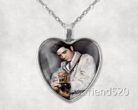 Elvis Presley Photo Tibet Silver Cabochon Glass Heart Pendant Heart Necklace#7