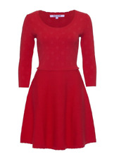 REVIEW Dahlia Red Knit Long Sleeve Fit and Flare Dress Size 8