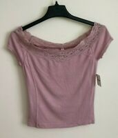 New Free People Your Love Lace Top, Mauve Pink, Small, RRP $58