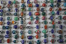 Fashion wholesale lots 50pcs malachite gemstone&silver p Colorful Women's rings