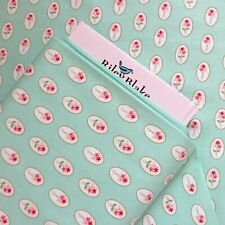 00004000 Cotton Quilting Fabric Vintage Adventure Aqua Floral Cameo By Riley Blake ~ Yard