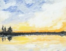 Original Painting of Lake and Landscape at Sunset-Free Shipping!