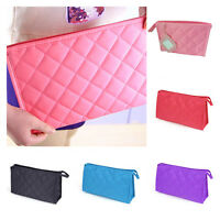 5 Colors Stylish Nylon Diamond Quilted Cosmetic Bag Makeup Organizer Zippers