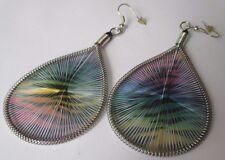 boucles d'oreilles percées pendantes grand bijou rétro couleur zébré *3548