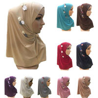 One Piece Amira Hijab Muslim Women Flower Scarf Headwear Shawl Wrap Islamic Cap