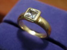 18k 18ct Solid Gold Princess Simulated Diamond Ring. 0.70ct Size K-L 5.97g