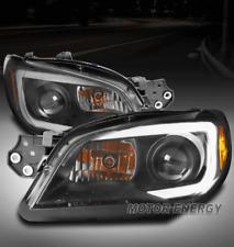 FOR 06-07 SUBARU IMPREZA WRX LED TUBE PROJECTOR HEADLIGHTS HEADLAMPS LAMP BLACK
