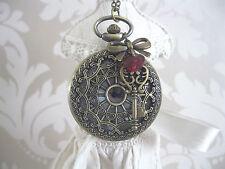 """""""Regina di Cuori"""" Alice nel Paese delle Meraviglie grande bronzo unico collana con Orologio da taschino"""