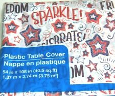 Patriotic American Flag July 4th Table Cover Red White and Blue, Plastic, 9 Feet