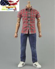 "1/6 red short sleeve men shirt blue Jeans for 12"" figure hot toys ❶US SELLER❶"