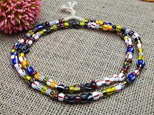 Strang 70 cm gestreifte bunte Afrika Glasperlen Seed crow Beads 7-9 mm