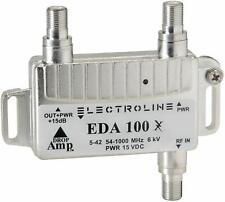 Electroline EDA100 Signal Booster 1-Port cable Drop Amp 5-42 54-1000 mhz 6kv