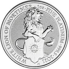 2021 Great Britain Platinum Queen's Beasts White Lion £100 - 1 oz - Bu