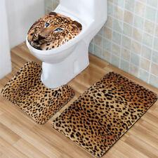 3x Comfortable Bathroom Non-Slip Leopard Pedestal Rug+Lid Toilet Cover+Bath Mat