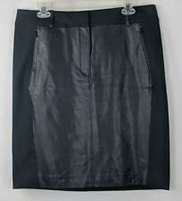 NWT ANN TAYLOR WOMENS BLACK FULLY LINED FAUX LEATHER SKIRT SZ 12 ~ $98