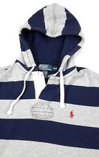 Polo Ralph Lauren Mens Henley Blue Gray Stripe Fleece Hoodie Sweatshirt Medium