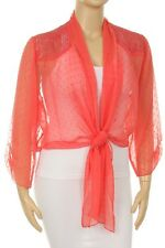 Coral Sheer Tie Front Bolero Chiffon Long Sleeve Top ,Bolero Jacket * New *2XL