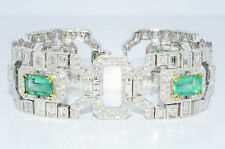 $318,000 35.32Ct Natural Colombian Emerald & Diamond Cluster Bracelet 18K HUGE!