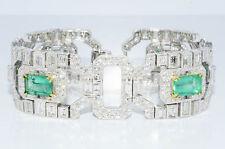 $318,000 35.32Ct Natural Colombian Emerald & Diamond Cluster Bracelet 18K HUGE!