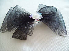 french clip style black net bow hair comb grip new
