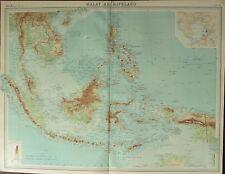 1922 LARGE ANTIQUE MAP ~ MALAY ARCHIPELAGO ~ BORNEO CELEBES SUMATRA