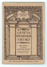 SACCHI CORDELIO LA SETA ATTRAVERSO I SECOLI LONGATTI 1929 AGRICOLTURA