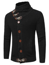 Men Fashion Knitted Cardigan Sweater Cowl Neck Horn Button Single Breasted