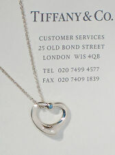 Tiffany & Co Elsa Peretti Sterling Silver Open Heart Aquamarine Necklace