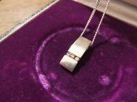 Silber Kette 925 Anhänger 835 Zirkonia Schlicht Designer Retro Modern Collier