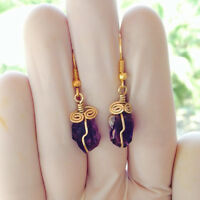 Amethyst Crystal Point Brass Wire Wrapped Earrings Natural Gemstone Jewelry