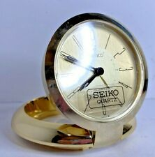 Vintage Seiko Travel Alarm Clock with Beautiful & Durable Hinged Brass Base