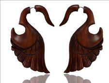 Antique Brown Shaded Wooden Handmade Swan Design Tribal Fake Gauge Earr WER043