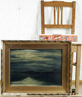 Impressionist Oil Painting Old Sea Night Water See Maritime Moonlight Douzette??