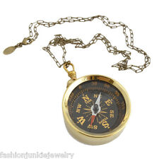 "Large Working Compass Necklace - Brass - 30"" Chain - Travel Vintage Style NEW"