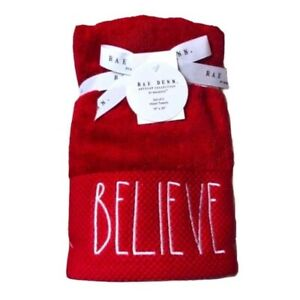 """Rae Dunn Christmas Red Believe Set Of 2 Hand Towels 16"""" x 30"""""""