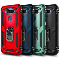 For LG Phoenix 5 Phone Case, Ring Kickstand Cover with Tempered Glass Protector