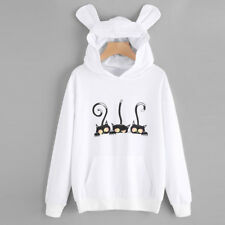 Womens Cat Long Sleeve Hoodie Sweatshirt Hooded Pullover Tops Blouse Jumper Coat