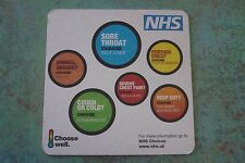 Beer Coaster: NHS Choices for Sore Throat, Chest Pain,Cold, Deep Cut, Sick Child