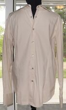 Toku  Large STRETCH COTTON Shirt Culture Solid Tan Long Sleeve Button Front
