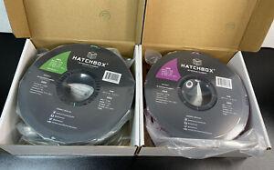 2 Hatchbox ABS 1.75mm 3D Printer Filament 1 Kg Spool True Green & True Purple